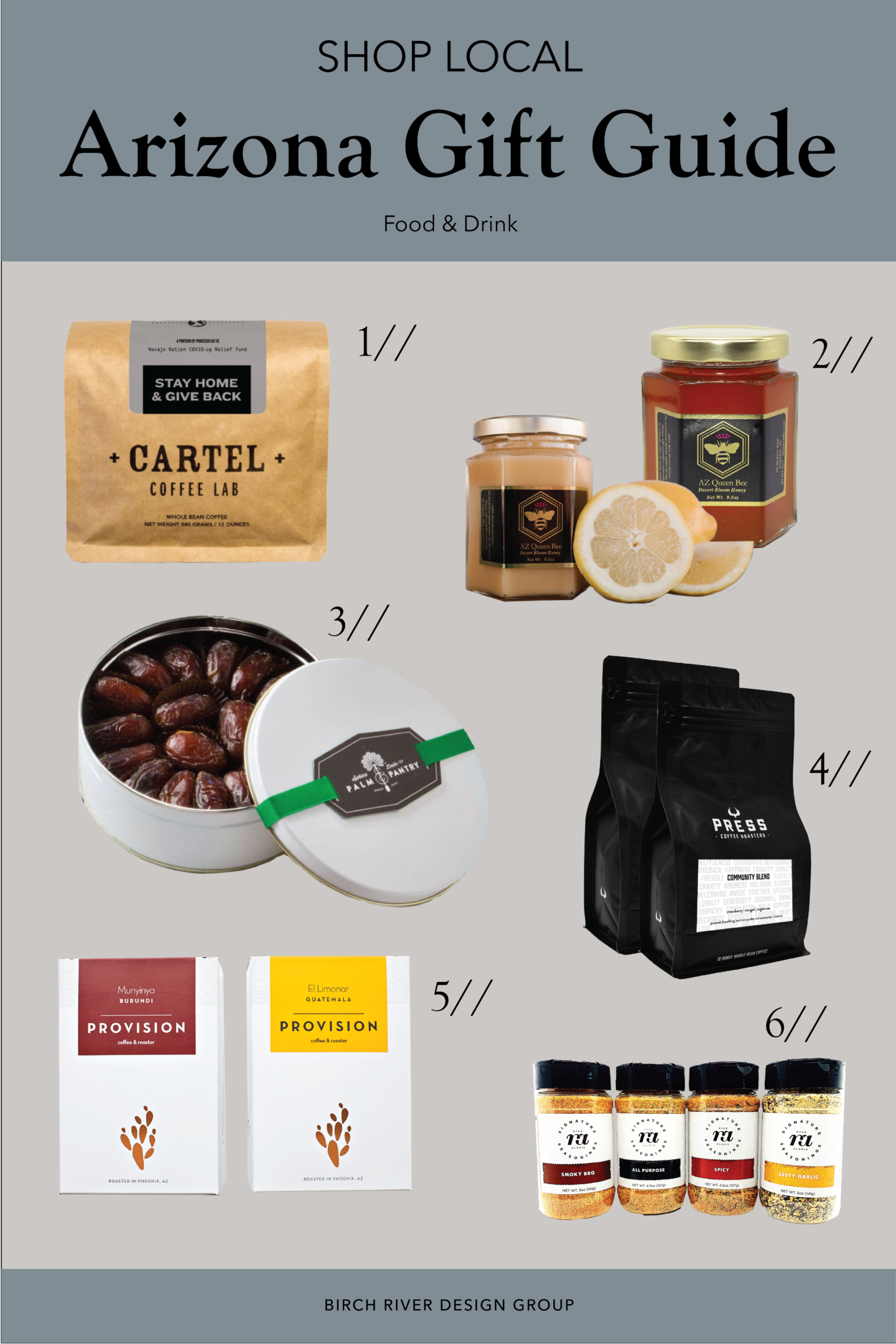 Collage of food and drink gift ideas from local Arizona businesses for Small Business Saturday