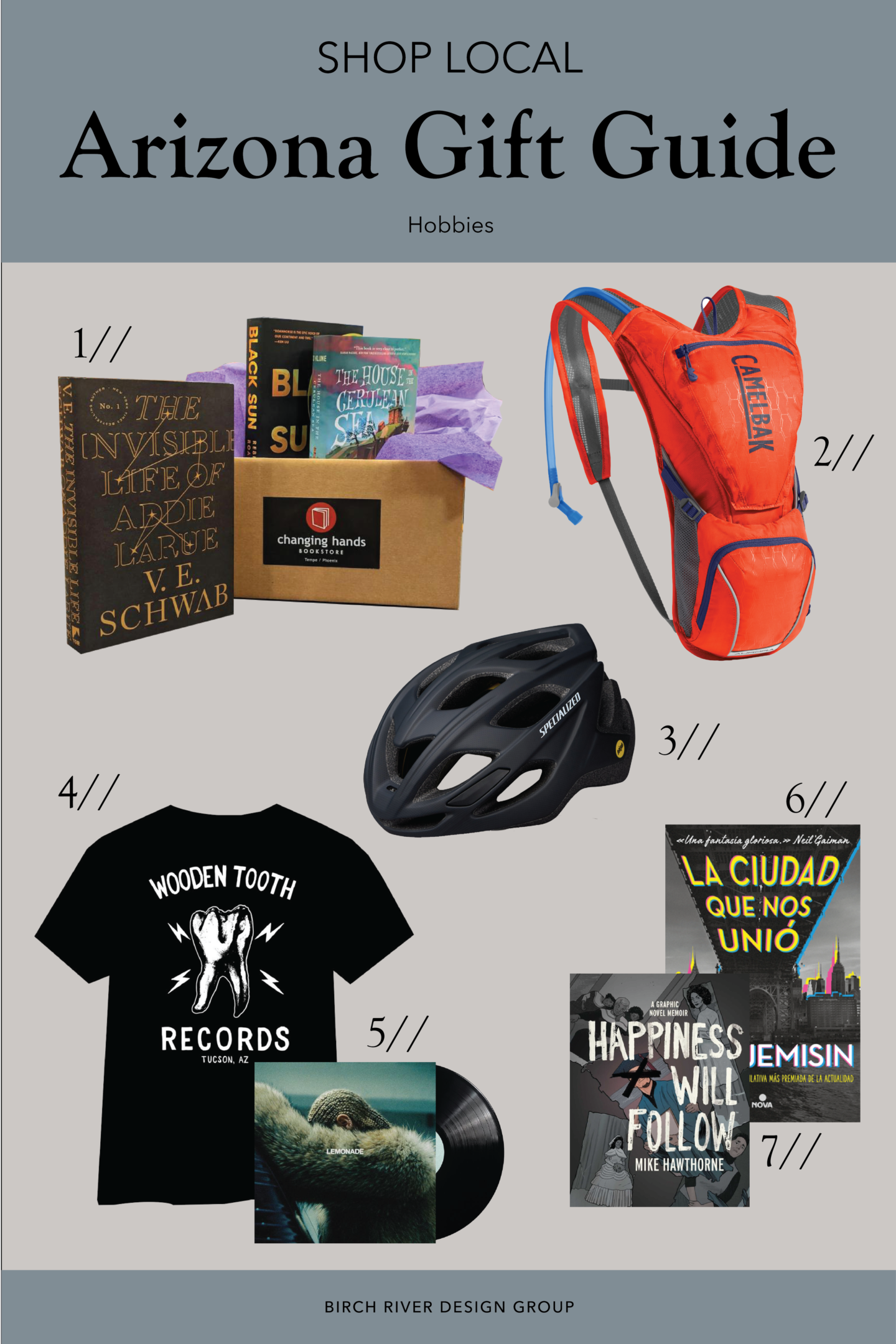 Collage of hobby-related gift ideas from Arizona local businesses.